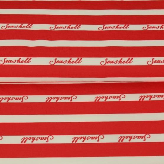 Baumwoll-Jersey, Streifen rot weiß Seashell