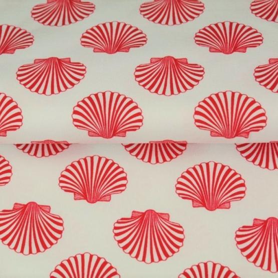 Baumwoll-Jersey, Muscheln, weiß rot