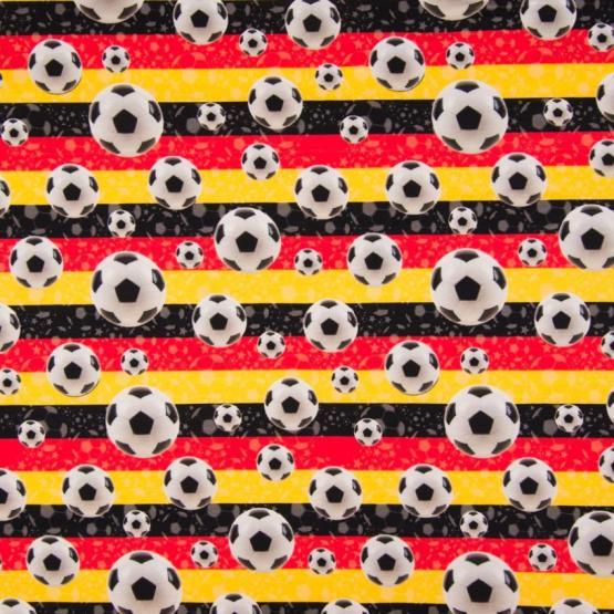 Baumwoll-Jersey, Fussbälle, weiß, schwarz, rot, gelb