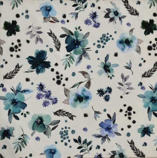 Baumwoll-Jersey, Blumen Bouqet, natur, blau, grün